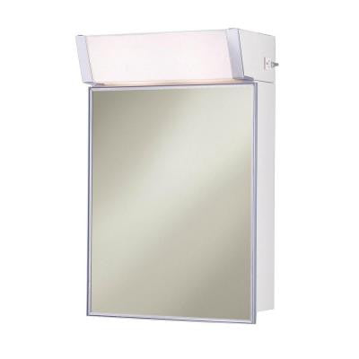 Lighted 16 in. W x 24 in. H x 8 in. D Surface-Mount Mirrored Medicine Cabinet in Stainless Steel