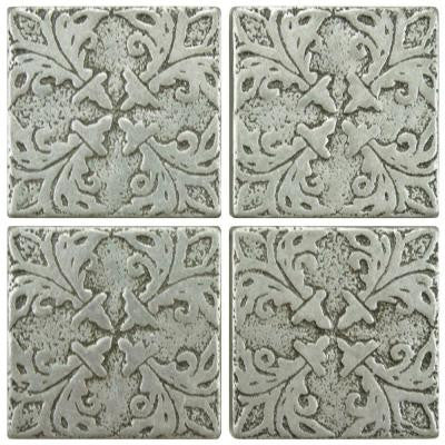Contempo Bouquet Pewter 2 in. x 2 in. Tozetto Medallion Floor and Wall Insert Tile (4-Pack)