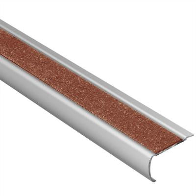 Trep-GK-B Brushed Stainless Steel/Nut Brown 1/16 in. x 8 ft. 2-1/2 in. Metal Stair Nose Tile Edging Trim