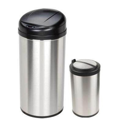10.6 Gal. and 3 Gal. Stainless Steel Motion Sensing Touchless Infrared Trash Can Combo Pack
