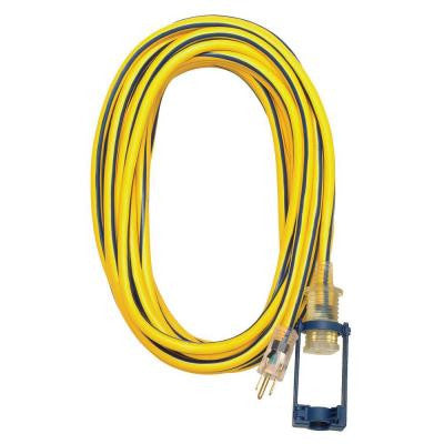 100 ft. 12/3 SJTW Outdoor Extension Cord with E-Zee Lock and Lighted End - Yellow with Blue Stripe
