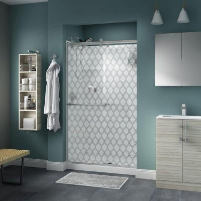 Lyndall 48 in. x 71 in. Semi-Framed Contemporary Style Sliding Shower Door in Nickel with Ojo Glass