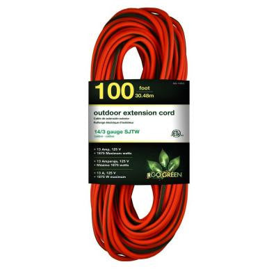 100 ft. 14/3 SJTW Outdoor Extension Cord - Orange with Lighted Green Ends