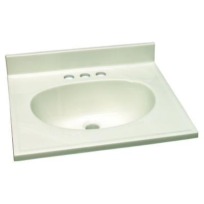 25 in. W Cultured Marble Vanity Top with White on White Bowl