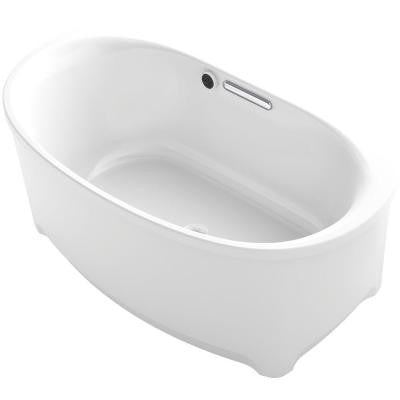 Underscore 5 ft. Center Drain Oval Bathtub with Bask in White