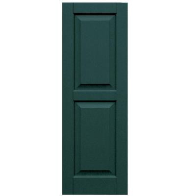 Wood Composite 15 in. x 44 in. Raised Panel Shutters Pair #633 Forest Green