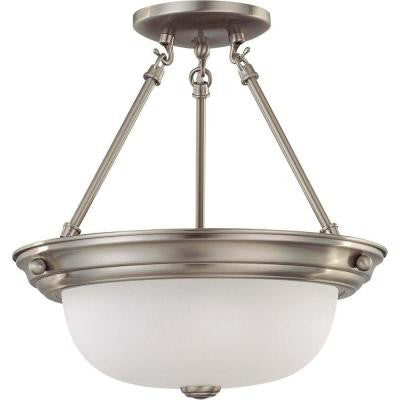 Elektra 2-Light Brushed Nickel Semi-Flush Mount Light with Frosted White Glass