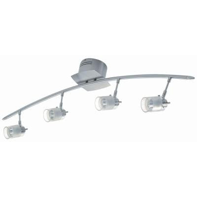 4-Light Polished Steel Bar Light with Frost Glass