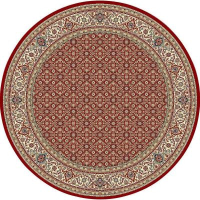 Hughes Red/Ivory 5 ft. 3 in. x 5 ft. 3 in. Round Indoor Area Rug