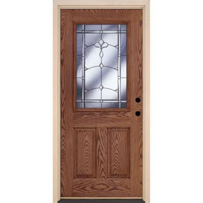 37.5 in. x 81.625 in. Carmel Patina 1/2 Lite Stained Medium Oak Fiberglass Prehung Front Door