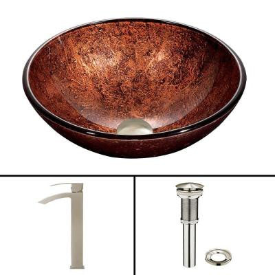Glass Vessel Sink in Mahogany Moon and Duris Faucet Set in Brushed Nickel