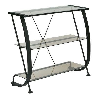 Horizon 3-Shelf Bookcase with Metal Frame and Tempered Glass Shelves in Black/Bronze