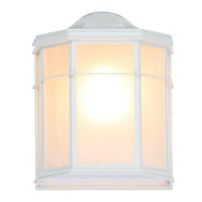1-Light White Outdoor Cage Lantern Wall Fixture with Die Cast Linen Acrylic Lens