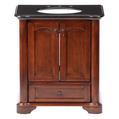 Vermont 30 in. Birch Vanity in Mahogany with Granite Vanity Top in Black with White Basin