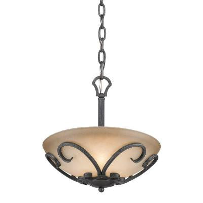 Vargas Collection 3-Light Black Iron Semi-Flush Mount/Pendant Convertible