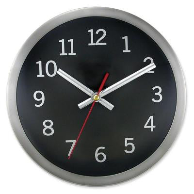 9 in. Round Brushed Metal Rim Hand Wall Clock