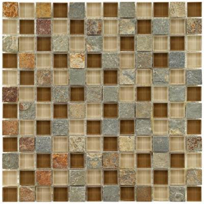 Tessera Square Brixton 11-3/4 in. x 11-3/4 in. x 8 mm Stone and Glass Mosaic Wall Tile