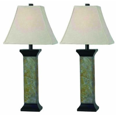 Suffield 29 in. Natural Slate Table Lamp Set (2-Pack)