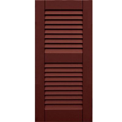 Wood Composite 15 in. x 32 in. Louvered Shutters Pair #650 Board and Batten Red