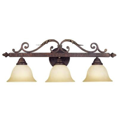 Olympus Tradition Collection 3-Light Crackled Bronze Bath Bar Light with Tea-Stained Glass Shades