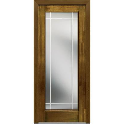 32 in. x 80 in. Classic Clear Glass PIM Full Lite Finished Mahogany Fiberglass Prehung Front Door