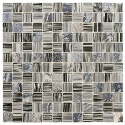 Spectrum Square Licorice 11-1/2 in. x 11-1/2 in. x 4 mm Glass and Stone Mosaic Wall Tile