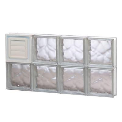 31 in. x 15.5 in. x 3.125 in. Wave Pattern Glass Block Window with Dryer Vent