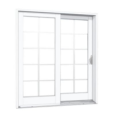 72 in. x 80 in. Composite White Right-Hand DP50 Smooth Interior with 10 Lite GBG Sliding Patio Door