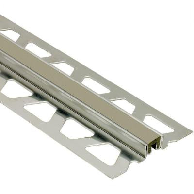 Dilex-KSN Stainless Steel with Grey Insert 1 in. x 8 ft. 2-1/2 in. Metal Movement Joint Tile Edging Trim