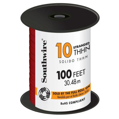 100 ft. 10 Stranded THHN Wire Red
