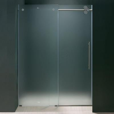 72 in. x 74 in. Frameless Bypass Shower Door in Chrome with Frosted Glass