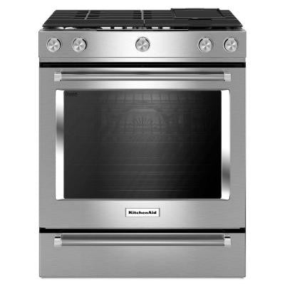 30 in. 6.5 cu. ft. Slide-In Gas Range with Self-Cleaning Convection Oven in Stainless Steel