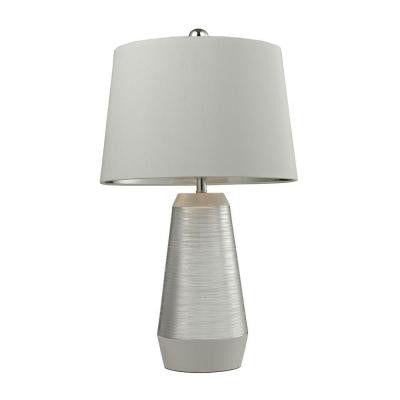 Etched Ceramic 26 in. Silver and White Table Lamp with Shade