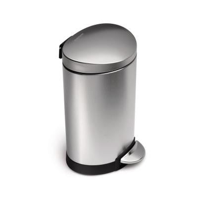 6 l Fingerprint-Proof Brushed Stainless Steel Semi-Round Mini Step-On Trash Can