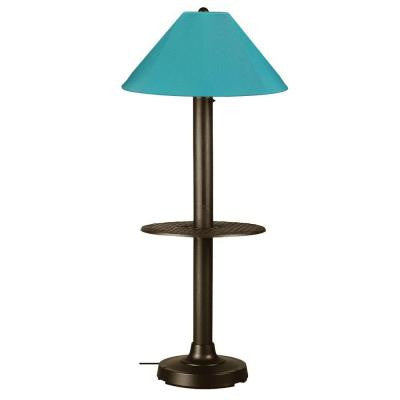 Catalina 63.5 in. Bronze Outdoor Floor Lamp with Tray Table and Aruba Shade