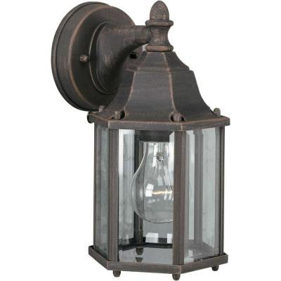 1-Light Outdoor Painted Rust Lantern with Clear Beveled Glass Panels