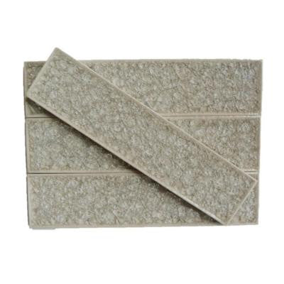 Roman Selection Iced Tan Glass Mosaic Tile - 2 in. x 8 in. Tile Sample