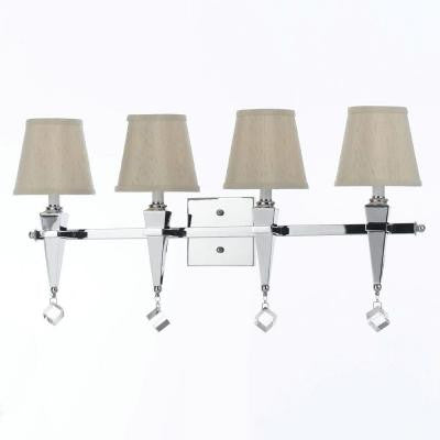 Candice Olson Collection, Margo 4-Light Chrome Vanity Light with Crystal Accents and Cream Shade