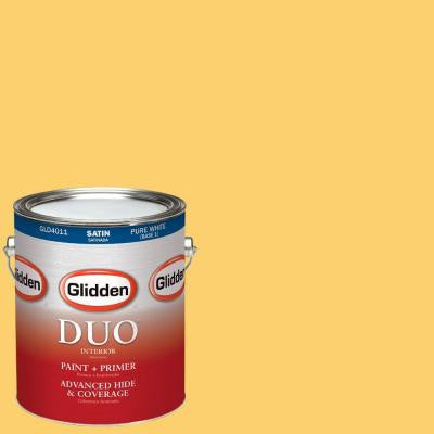 1-gal. #HDGY28 May Tulip Yellow Satin Latex Interior Paint with Primer