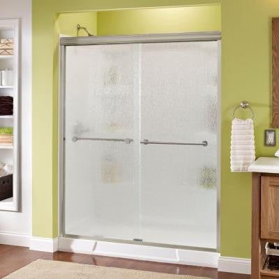 Lyndall 60 in. x 70 in. Semi-Framed Sliding Shower Door in Nickel with Rain Glass