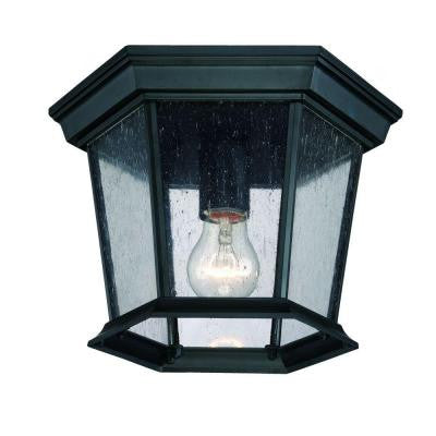 Dover Collection 1-Light Ceiling Outdoor Matte Black Fixture