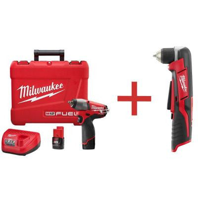 M12 FUEL 12-Volt Lithium-Ion Brushless 3/8 in. Cordless Impact Wrench Kit with M12 3/8 in. Right Angle Drill (Tool-Only)