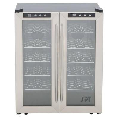 20-3/8 in. 24-Bottle Thermoelectric Wine Cooler with Double Door Dual Zone and Heating
