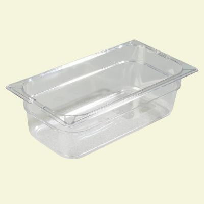 1/3 Size, 3.80 qt., 4 in. D Polycarbonate Food Pan in Clear, Lid not Included (Case of 6)