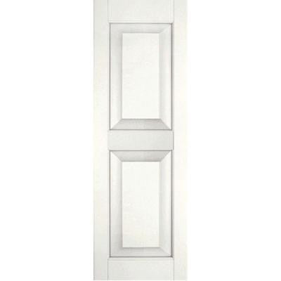 15 in. x 34 in. Exterior Real Wood Sapele Mahogany Raised Panel Shutters Pair White