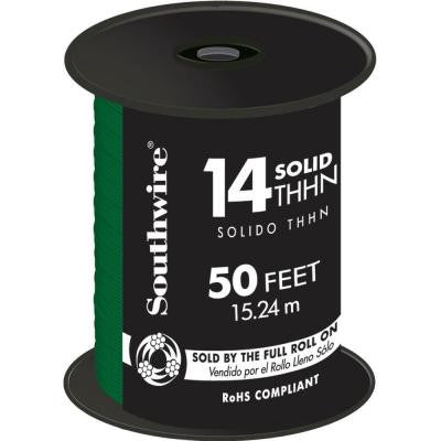 50 ft. 14/1 Solid THHN Wire - Green