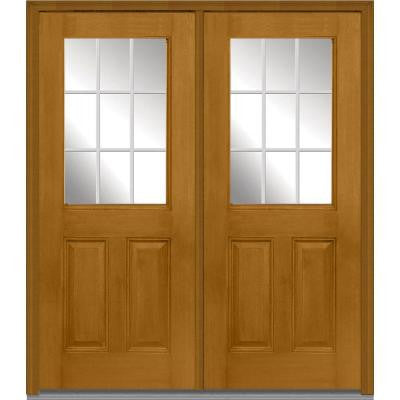 72 in. x 80 in. Classic Clear Glass GBG 1/2 Lite Finished Mahogany Fiberglass Double Prehung Front Door
