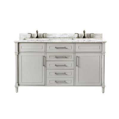 Aberdeen 60 in. W x 22 in. D Double Vanity in Dove Grey with Marble Vanity Top in White