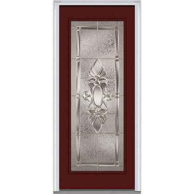 32 in. x 80 in. Heirloom Master Decorative Glass Full Lite Painted Fiberglass Smooth Prehung Front Door