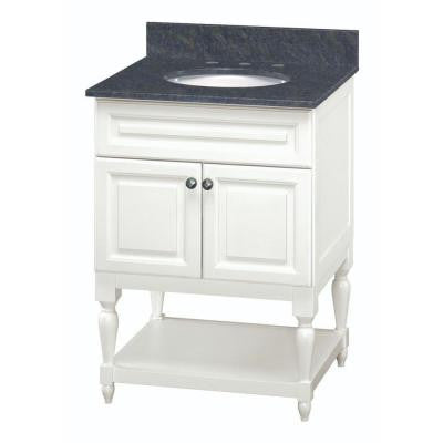 Emberson 26 in. Vanity in White with Granite Vanity Top in Butterfly Blue